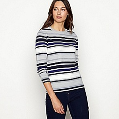 Maine New England - Grey stripe print knitted jumper