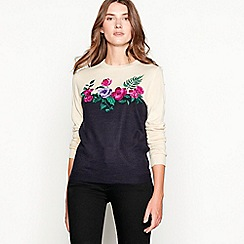 Maine New England - Navy floral embroidered crew neck jumper