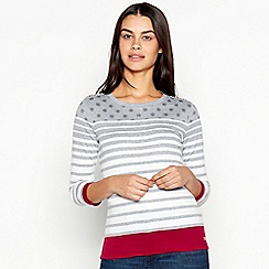 Maine New England - Grey Snowflake and Stripe Print Pure Cotton Top