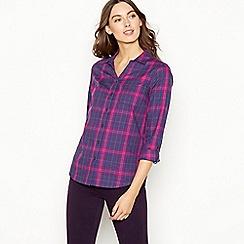 Maine New England - Plum plaid print cotton shirt