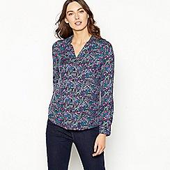 Maine New England - Green floral print long sleeve shirt