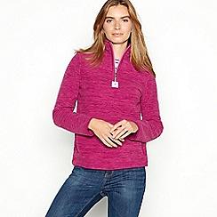 Maine New England - Pink half zip quilted funnel neck fleece
