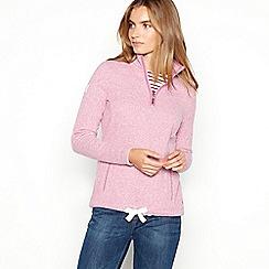 Maine New England - Pink half zip knitted fleece top