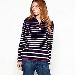Maine New England - Plum half zip striped fleece