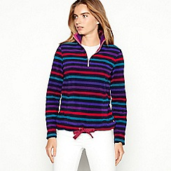 Maine New England - Navy striped half zip funnel neck fleece