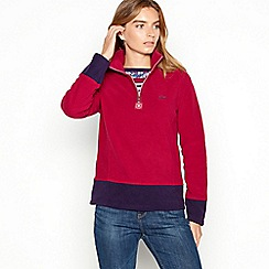 Maine New England - Pink block hem half zip neck fleece