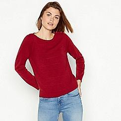 Maine New England - Dark red textured stripe crew neck jumper