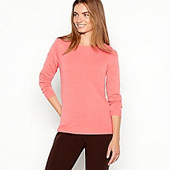 Maine New England - Dark peach textured stripe crew neck jumper