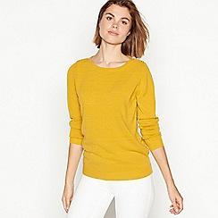 Maine New England - Mustard yellow textured stripe crew neck jumper