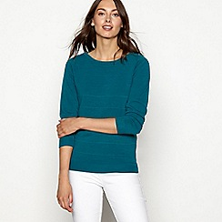Maine New England - Green textured stripe crew neck jumper