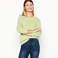 Maine New England - Lime Textured Stripe Crew Neck Jumper