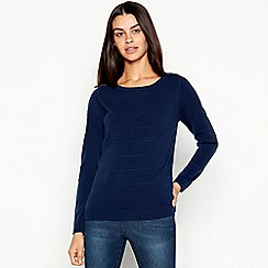 Maine New England - Navy textured stripe crew neck jumper