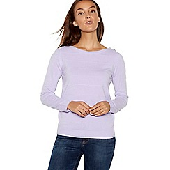 Maine New England - Lilac textured stripe crew neck jumper