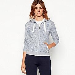 Maine New England - Grey floral print zip through cotton sweatshirt