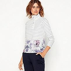 Maine New England - Off white floral stripe print cotton high neck sweatshirt
