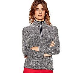 Maine New England - Navy textured high neck long sleeve sweatshirt