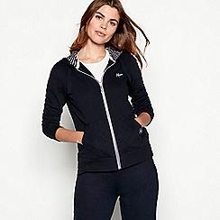 Maine New England - Navy zip through hooded cotton sweatshirt