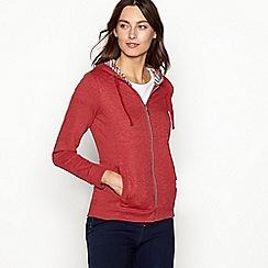 Maine New England - Dark red quilted cotton blend zip through sweatshirt