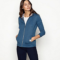 Maine New England - Turquoise quilted cotton blend zip through sweatshirt