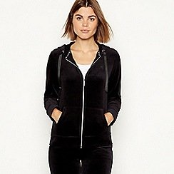 Maine New England - Black velour zip through hooded sweatshirt