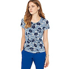Maine New England - Light blue poppy print scoop neck t-shirt