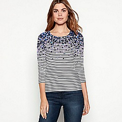 Maine New England - Navy floral stripe print cotton top