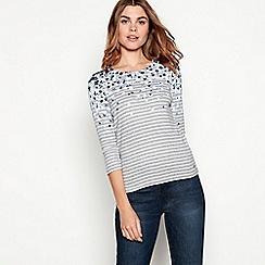Maine New England - Grey floral stripe print cotton top
