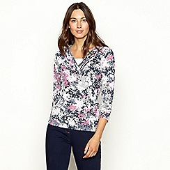Maine New England - Rose pink floral print 3/4 length sleeve top