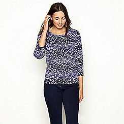 Maine New England - Purple floral print 3/4 length sleeve top