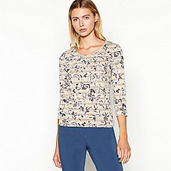 Maine New England - Natural floral stripe print 3/4 sleeve top