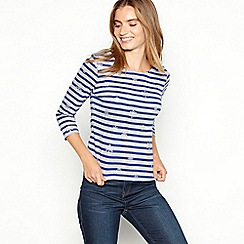 Maine New England - Grey stripe print cotton snowflake top