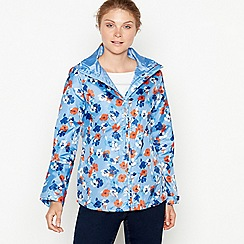 Maine New England - Bright blue floral print shower resistant hooded jacket