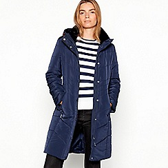 Maine New England - Navy Faux Fur Trim Padded Hooded Coat