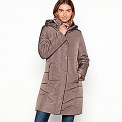Maine New England - Taupe Faux Fur Trim Padded Hooded Coat