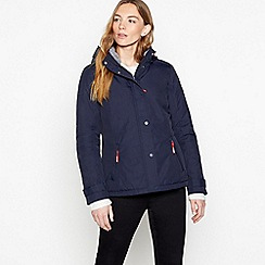 Maine New England - Navy Faux Fur Lined Hooded Showerproof Jacket