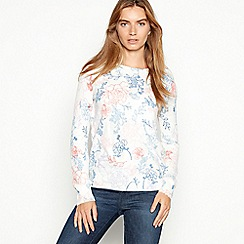 Maine New England - Ivory woven floral 'Ultrasoft' jumper