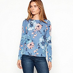 Maine New England - Blue ultra-soft large floral print jumper