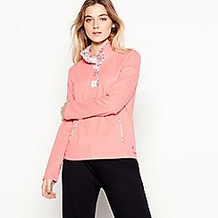 Maine New England - Peach Half Button Cotton Sweatshirt