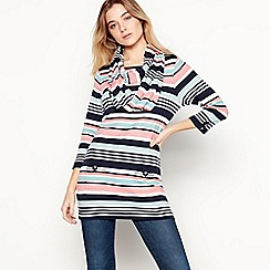 Maine New England - Navy Stripe Print Cotton Tunic Top With Snood