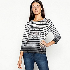 Maine New England - Dark Grey Floral and Stripe Print Pure Cotton Top