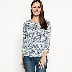 Maine New England - Navy printed 3/4 length sleeves top
