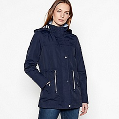 Maine New England - Navy hooded showerproof jacket