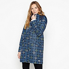 Maine New England - Blue Spot Print Hooded Showerproof Parka