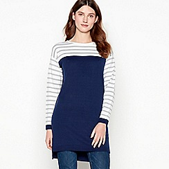 Maine New England - White Stripe Print Tunic Top