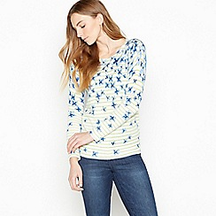 Maine New England - White Floral and Stripe 'Ultra soft' Jumper