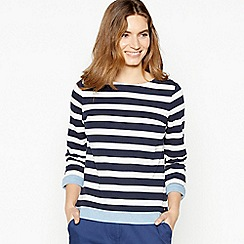 Maine New England - Navy Stripe Print Chambray Trim Top