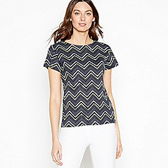 Maine New England - Navy Zig Zag Stripe Cotton T-Shirt