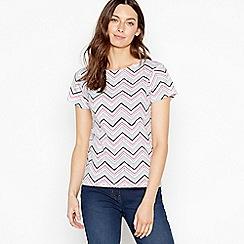 Maine New England - Off White Zig Zag Stripe Cotton T-Shirt