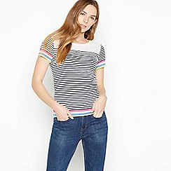 Maine New England - Multicoloured Stripe Print Broderie Anglaise Cotton Top