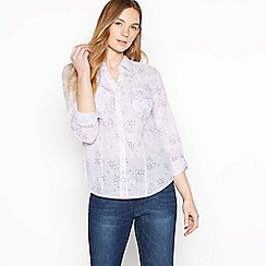 Maine New England - Lilac Floral and Stripe Print Shirt
